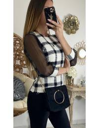 Mon joli top style tweed & manches voilage