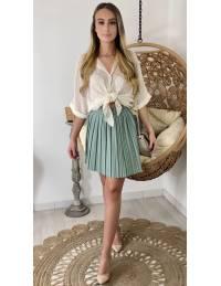 Ma petite jupe vert aqua plissée style cuir