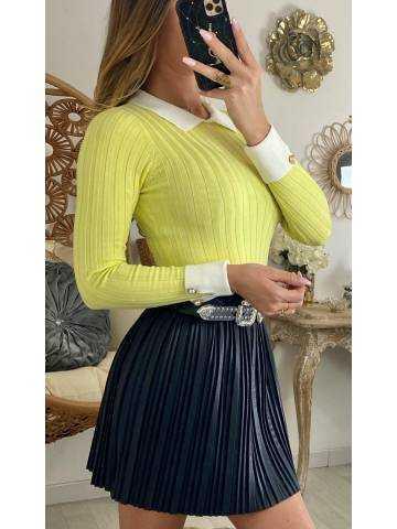 """Mon pull jaune côtelé """"effet 2 pièces"""""""