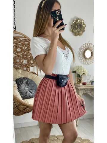 Ma petite jupe rose blush plissée style cuir