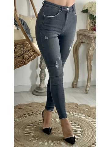 "Mon jeans slim ""grey destroy"""