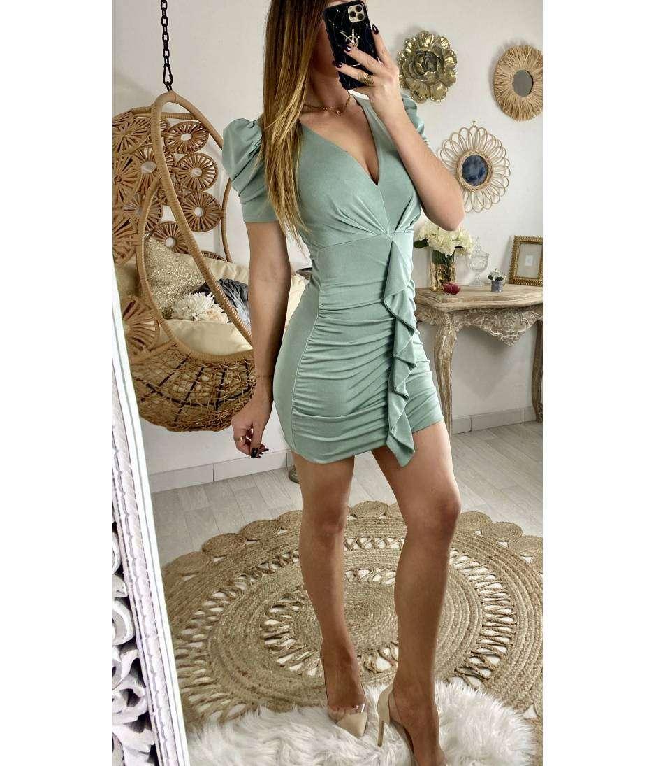 Ma robe vert aqua souple & volantée