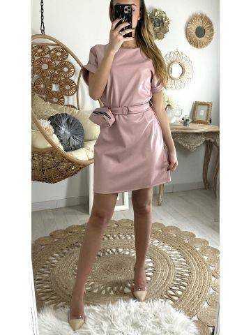 Ma robe vieux rose style cuir & sa sacoche