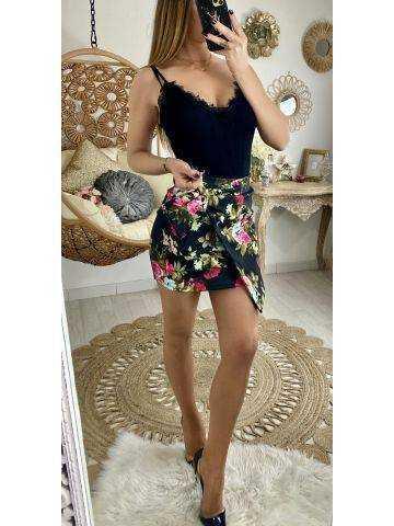 Ma jolie jupe black porte feuille fleurie