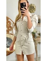 "Ma robe/chemise en jeans beige ""boutonnée"""