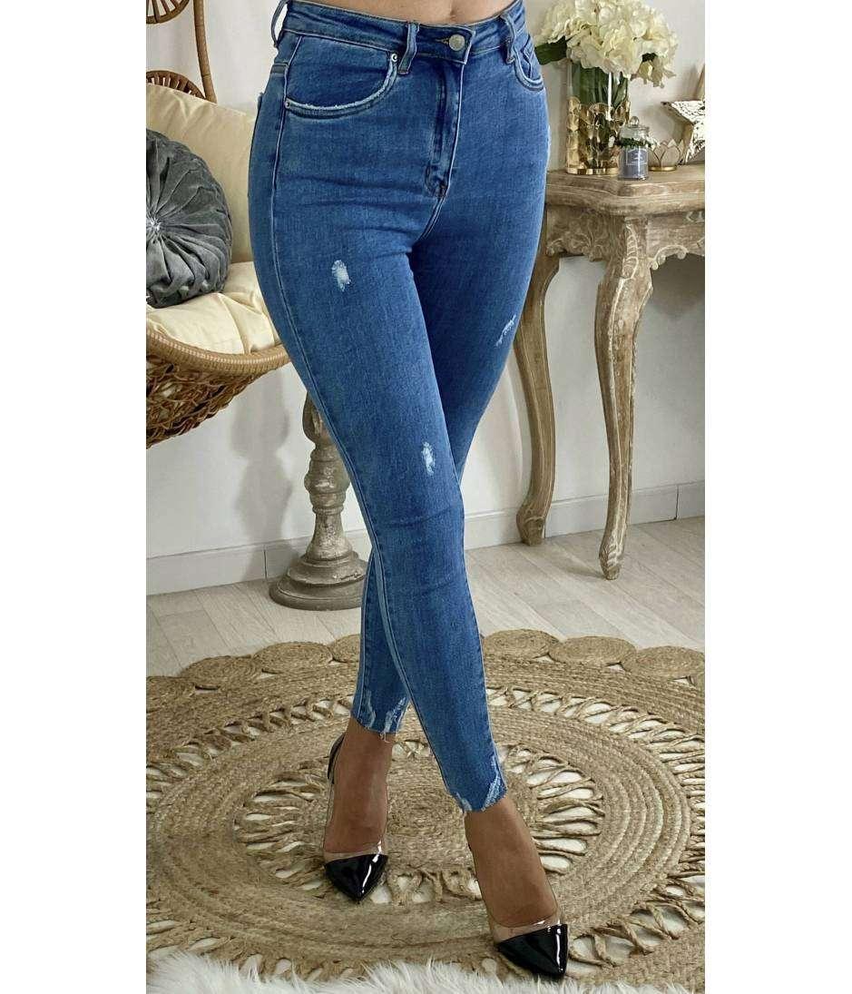 """Mon jeans slim bleu """"détails destroy"""""""