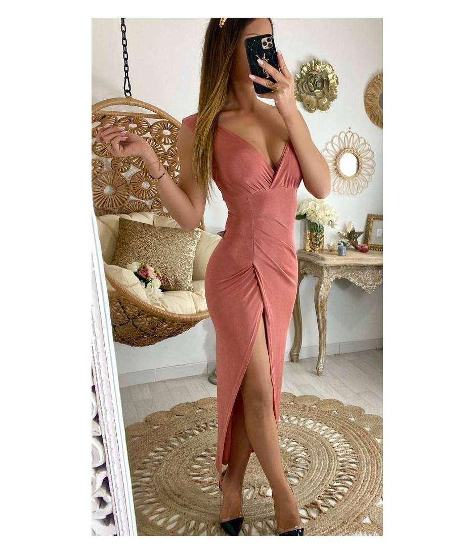 Ma robe longue cache coeur & flowers pink