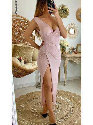 Ma robe longue pink peach cache coeur & fendue