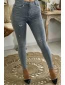 """Mon jeans slim """"gris foncé destroy"""""""