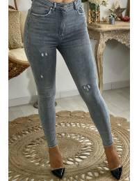 """Mon jeans slim """"gris clair destroy"""""""
