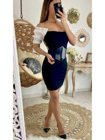 """Large ceinture noire élastique """"corset'"""
