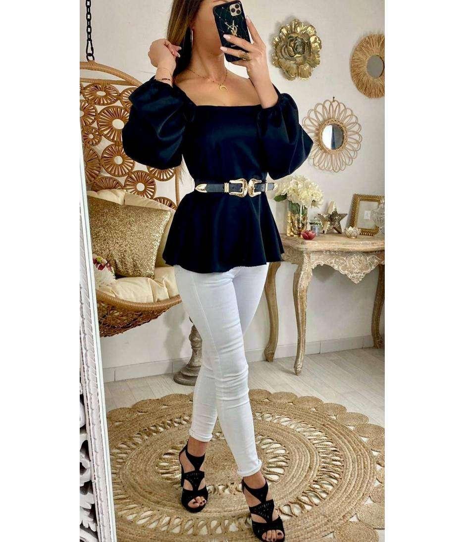 """Ma blouse satinée black """"col carré & péplum"""""""