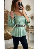 "Ma blouse satinée vert aqua ""col carré & péplum"""