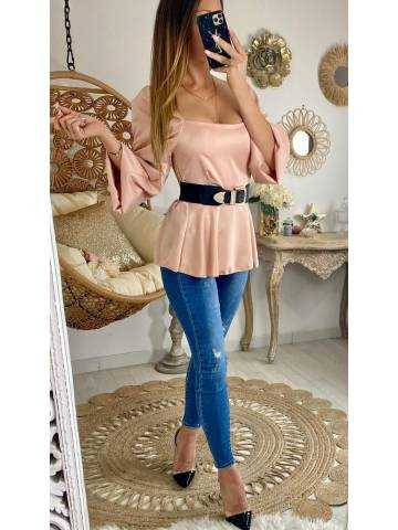 "Ma blouse satinée pink  ""col carré & péplum"""