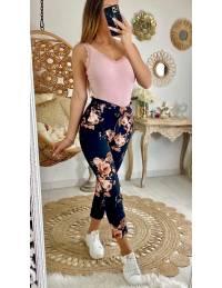 """Pantalon léger imprimé """"black & flowers pink"""" 2"""