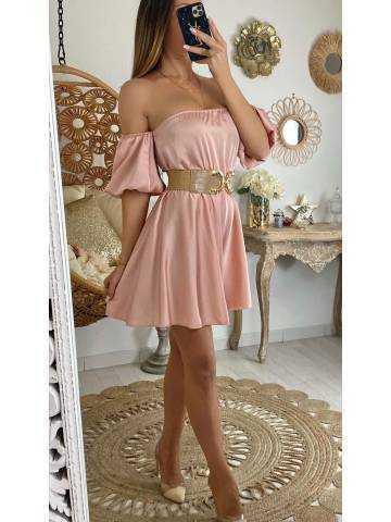 Ma jolie combi-short pink satinée et bustier