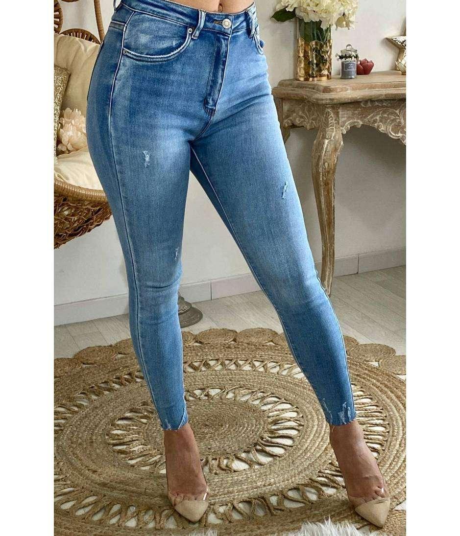 "Mon jeans bleu clair ""used"""