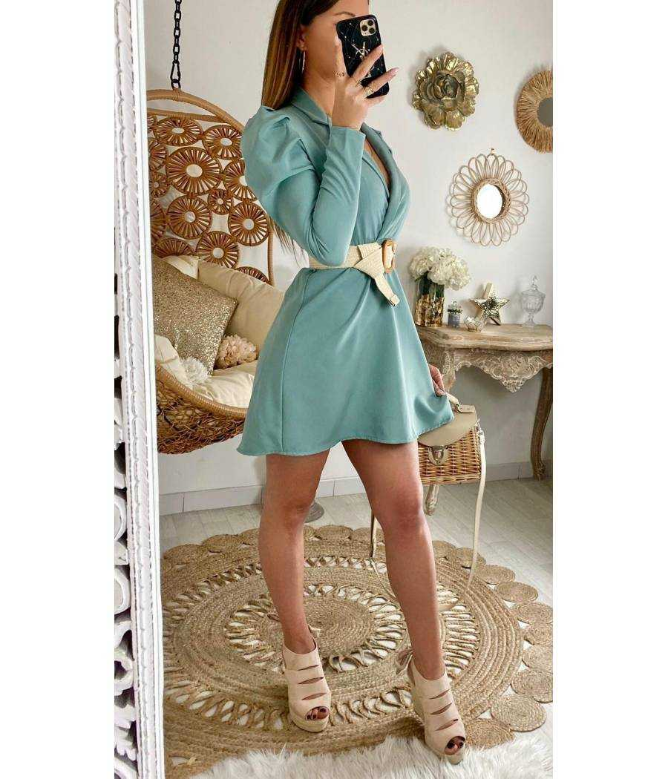 "Ma jolie robe vert aqua ""épaules bouffantes"""