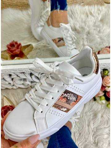 Mes jolies baskets blanches et roses python