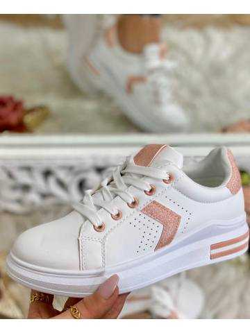 Mes jolies baskets blanches et roses glitter