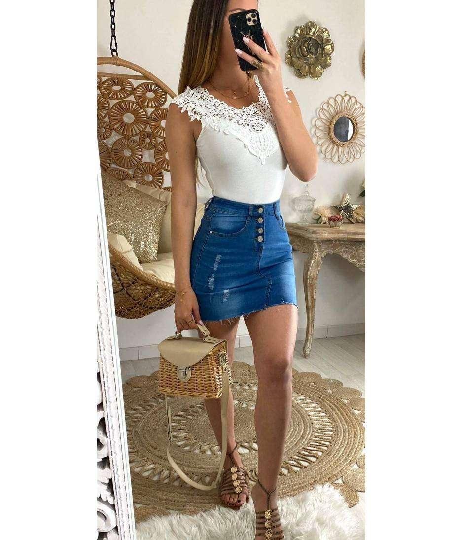 "Ma jupe en jeans boutonnée ""used"""