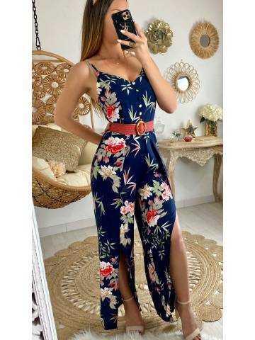 """Ma combi-pantalon bleue """"wide flowers"""""""