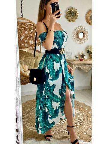 "Ma robe longue bustier ""vert jungle"""