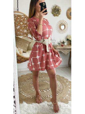 Ma robe rose imprimé graphique