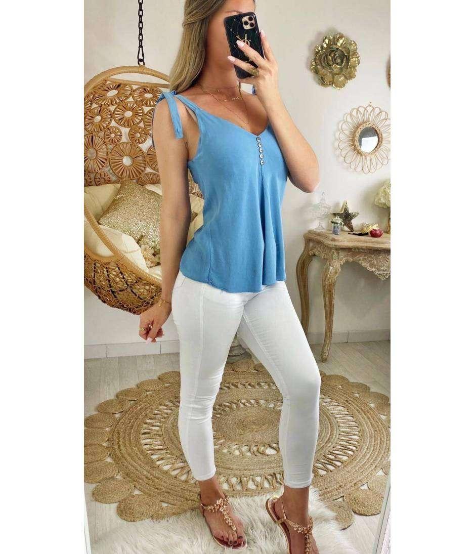 """Mon top bleu jeans """"bretelles nouées"""""""