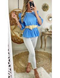 "Ma blouse bleue en coton ""joli volant"""