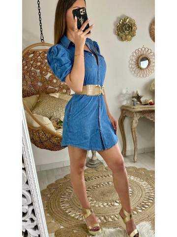 Ma jolie robe en jeans manches courtes et froncées