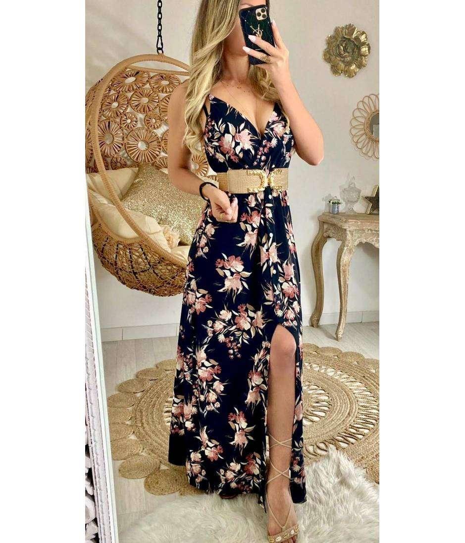 Ma jolie robe longue noire fleurie