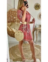 """Ma jolie robe droite rose blush """"fleur & leaf"""""""