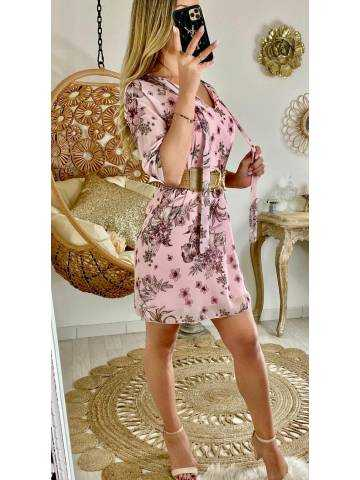"Ma jolie robe droite rose pâle ""fleur & leaf"""