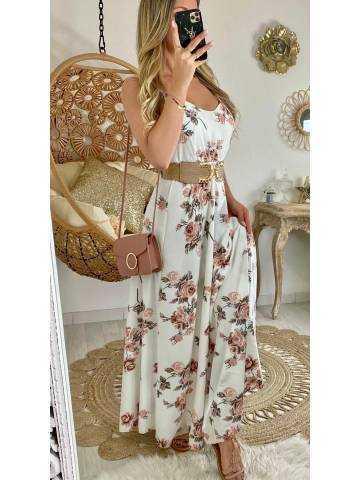 """Ma robe longue blanche et flowers """"dos lacet"""""""