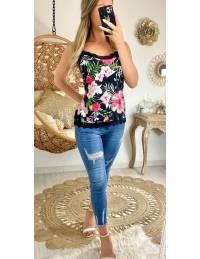 """Mon petit top noir et dentelle noire """"pink flowers"""""""