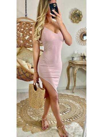 """Ma robe rose pâle fendue """"dos croisé"""""""