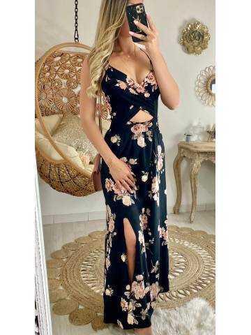 """Ma robe longue noire jolies roses """"décolleté et dos croisé"""""""