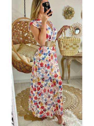 "Ma jolie robe longue blanche ""fresh flowers"""