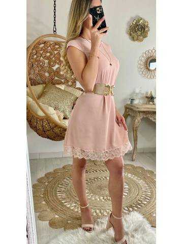 Ma petite robe rose pâle et bas dentelle