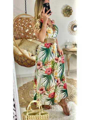 "Ma jolie robe longue blanche ""tropical flowers"""