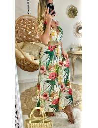 "Ma jolie robe longue blanche ""tropical flowers"""