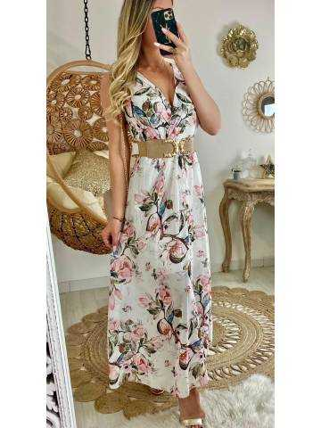 "Ma jolie robe longue blanche ""pastel flowers"""