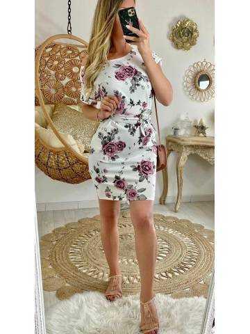 "Ma robe jolie robe blanche sweety ""pink flowers"""