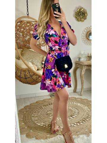 "Ma jolie robe ceinturée ""flowers purple"""