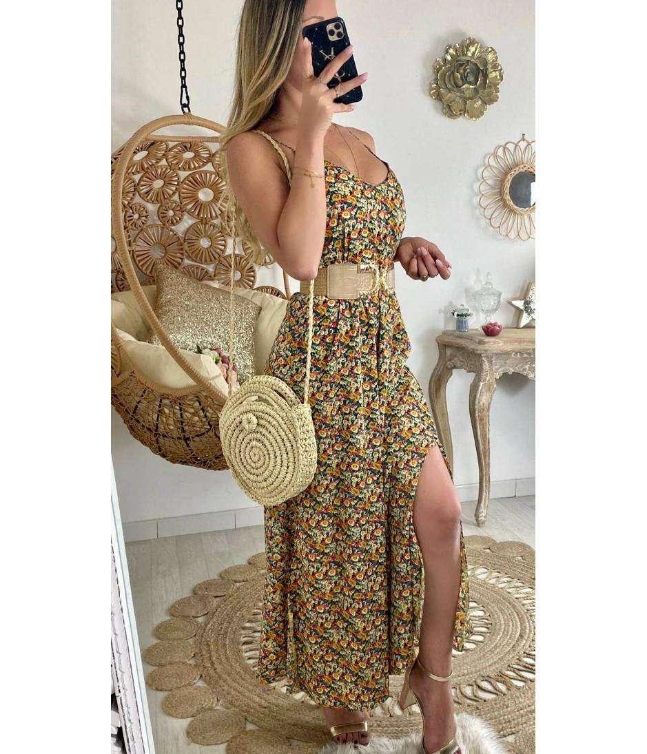 """Ma superbe robe jaune et fines fleurs """"dos croisé"""""""