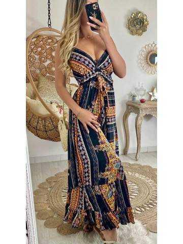 """Ma robe longue noire """"imprimé ethnique"""""""