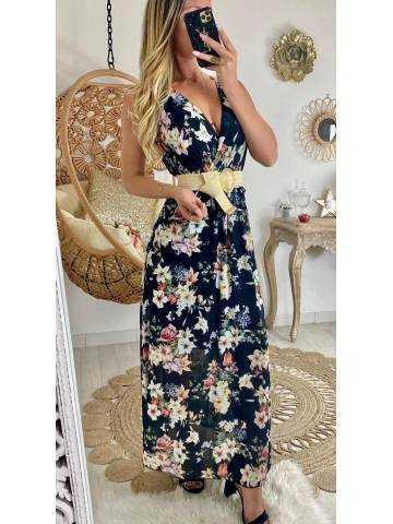 "Ma robe longue noire ""flowers"""