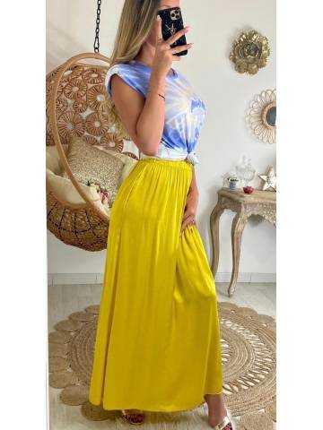 Ma superbe jupe longue jaune satiné