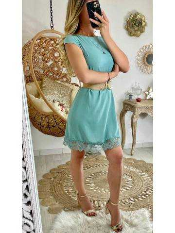 Ma petite robe vert d'eau et bas dentelle